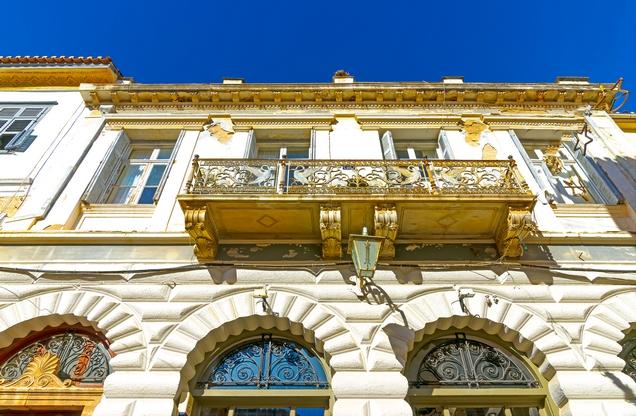 facade of neoclassical building in downtown Nafplio