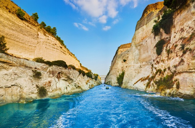 view of the Corinth Canal from sea level