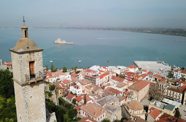the view of the port and part of the city of Nafplio