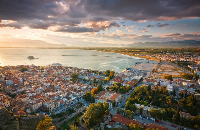 Athens - Corinth Canal - Epidavros - Nafplion City - Mycenae Tour: Nafplio from above at sunset