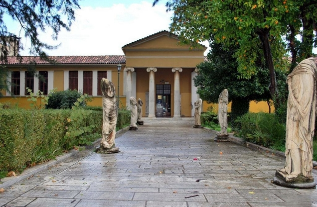 the entrance to the archaeological museum in Sparta