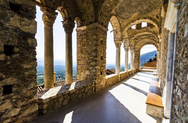 stone corridor with columns in Mystras, Laconia