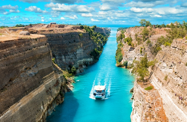 ship crosses the Corinth Canal