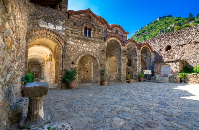 the stone courtyard of the Byzantine church in Mystras