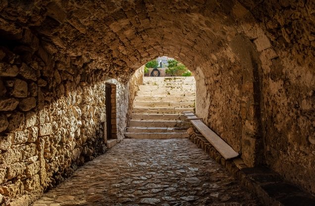 Stone vaulted corridor in Monemvasia