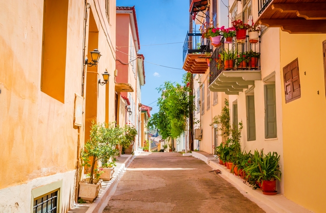 beautiful street in the city of Nafplio with buildings