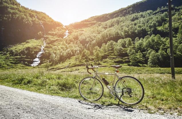 bike on mountain road in mountain