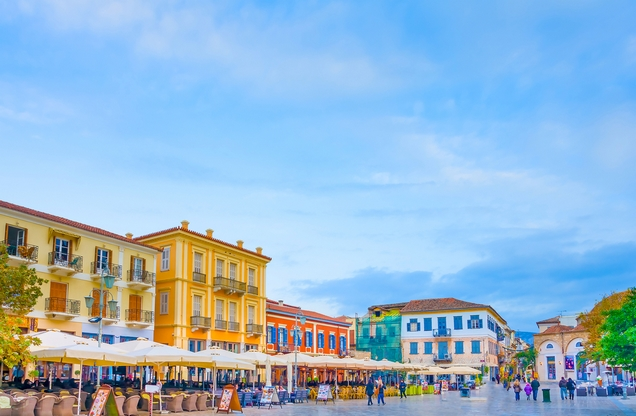 the colorful neoclassical buildings in the center of Nafplio