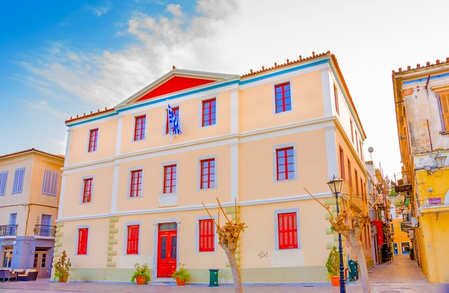 colorful neoclassical building in the center of Nafplio
