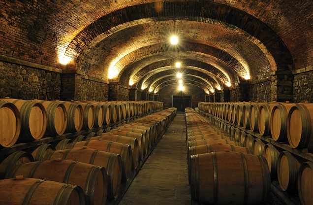 illuminated cellar with wooden wine barrels in Nemea