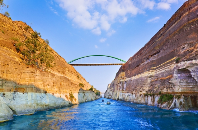 the Corinth canal with the bridge