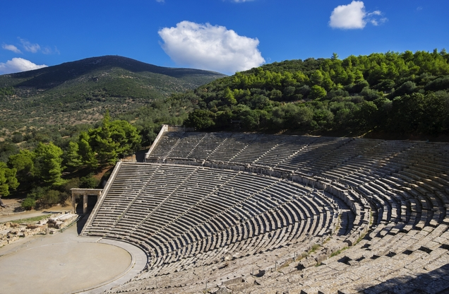 View of the ancient theater of Epidaurus from above