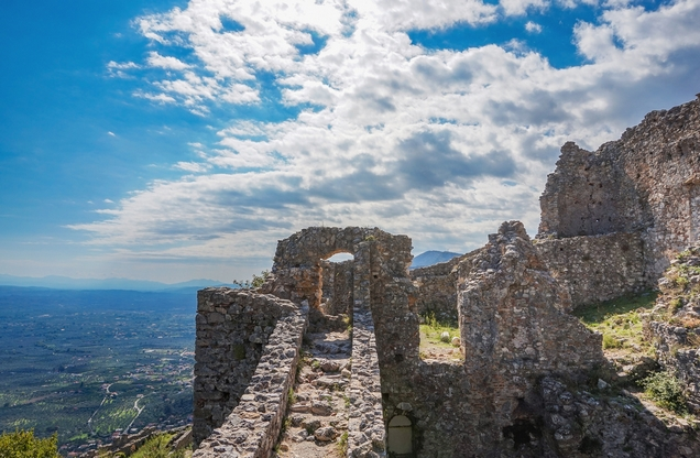 the view from Mystras castles in Laconia, Sparta