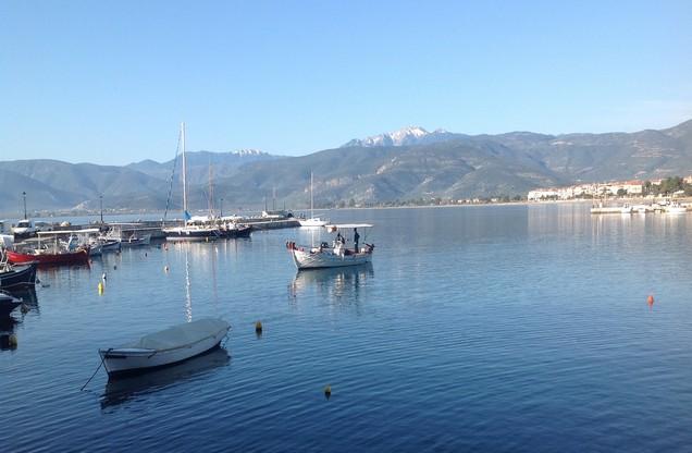 boat in the blue sea of Nafplio