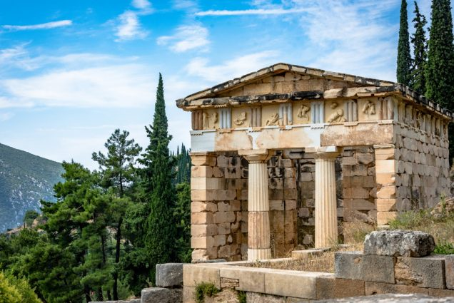 ancient marble temple in Delphi, Greece