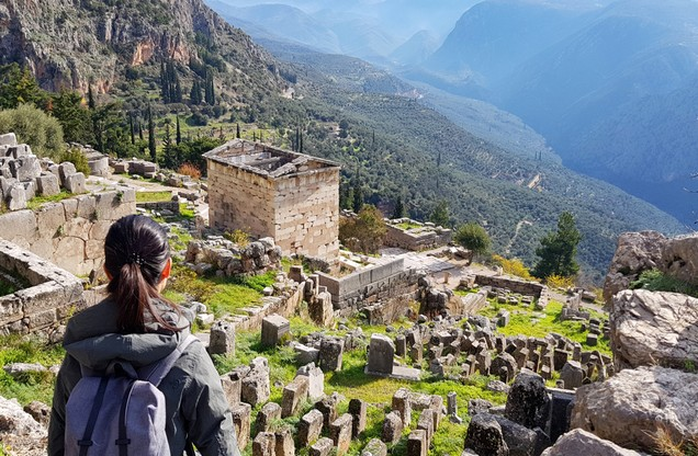 the view of the Delphi archaeological site from above