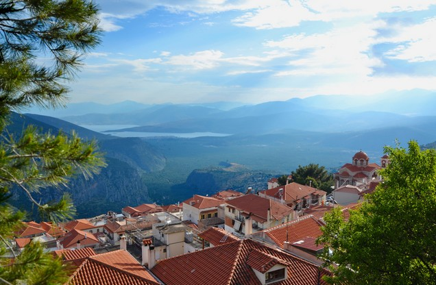 the view of the mountains from Delphi
