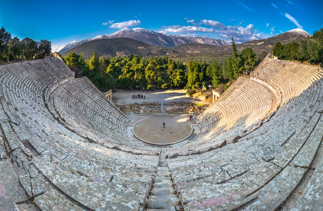 the ancient theater of Epidaurus from above
