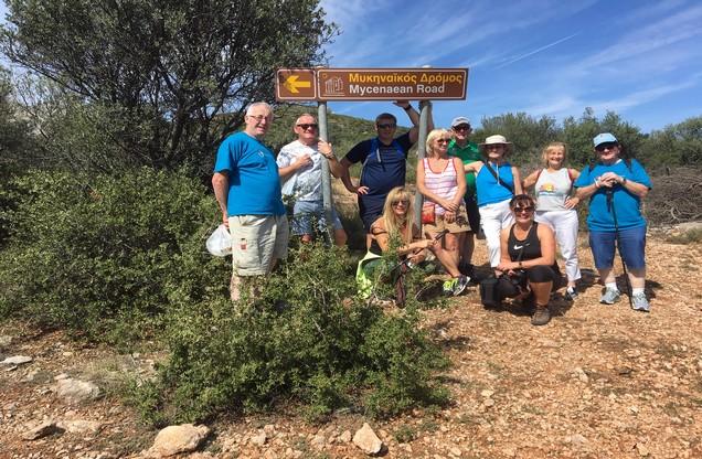 hikers on their way to Mycenae
