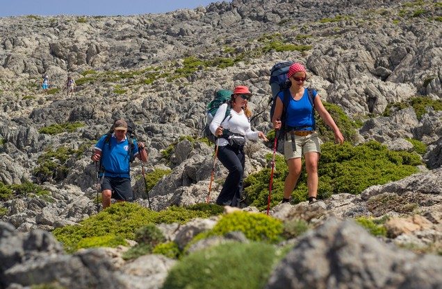 hikers in the rocky landscape