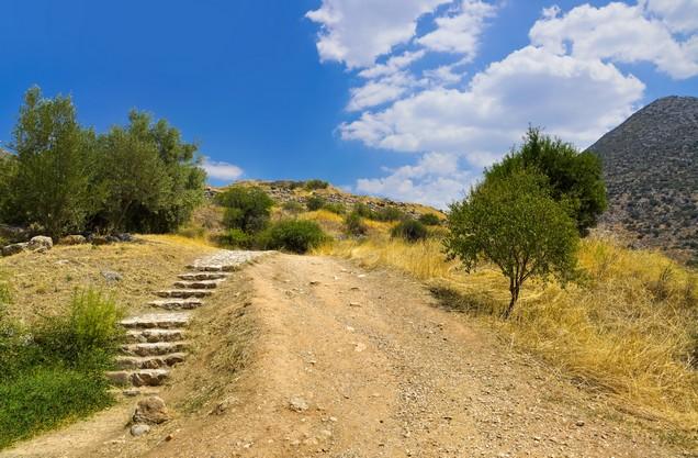 stone steps next to a path in Mycenae