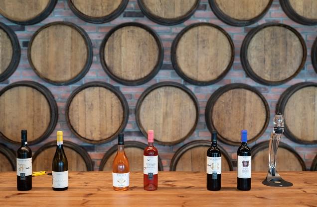 barrels and bottles of wine