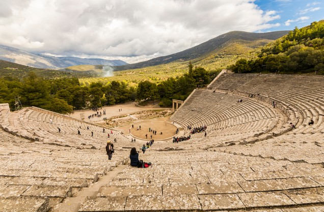 Panoramic view of the ancient theater of Epidaurus
