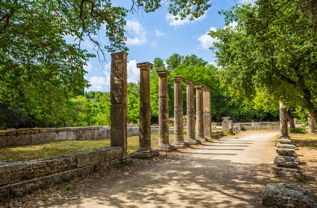 columns of temple ruins in ancient Olympia