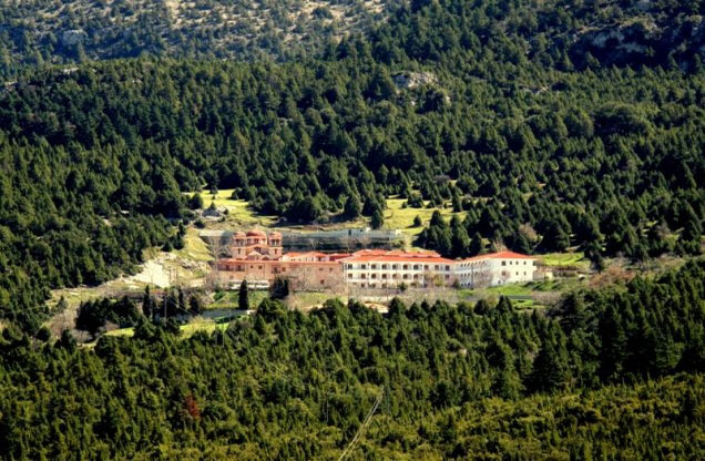 Holy Monastery of Malevis surrounded by greenery