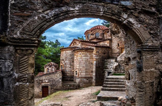Nafplion Sparta - Mystras: stone church in Mystras Lakonia, Sparta