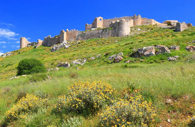 Nafplion Argos Cultural Tour: view of the castle on the green hill above the city of Argos