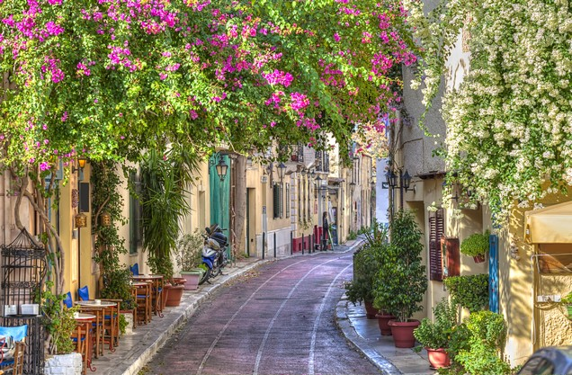 picturesque alley in the area of Plaka in the center of Athens