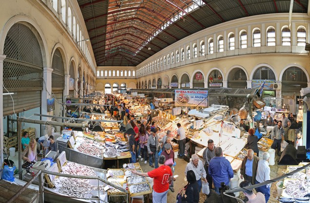 the central market in the center of Athens