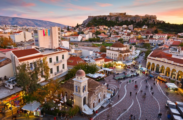 The Monastiraki square in the center of Athens from above