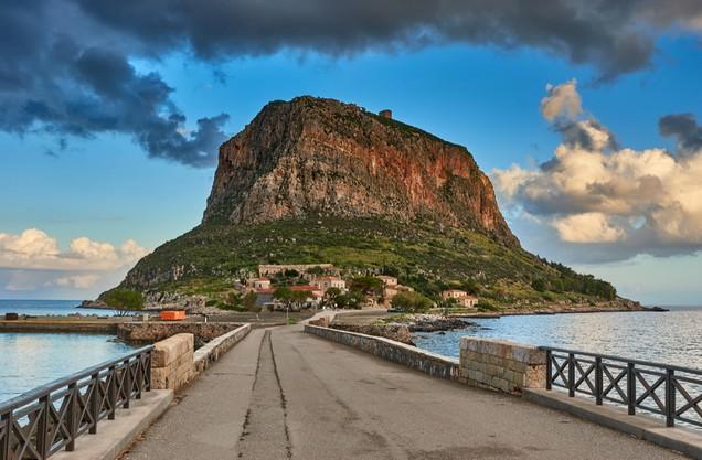 view to the beach of Monemvasia