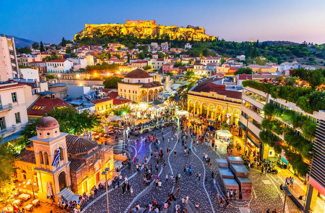 Monastiraki square and acropolis view from above at dusk