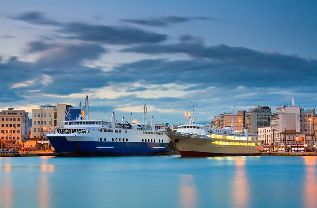 Athens or Piraeus Port to Anc.Olympia and return: illuminated ships in the port of Piraeus