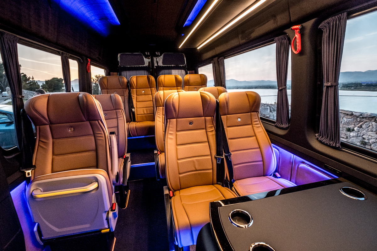 the interior of the minibus