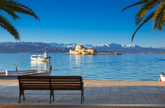 the view of Bourtzi from the port of Nafplio