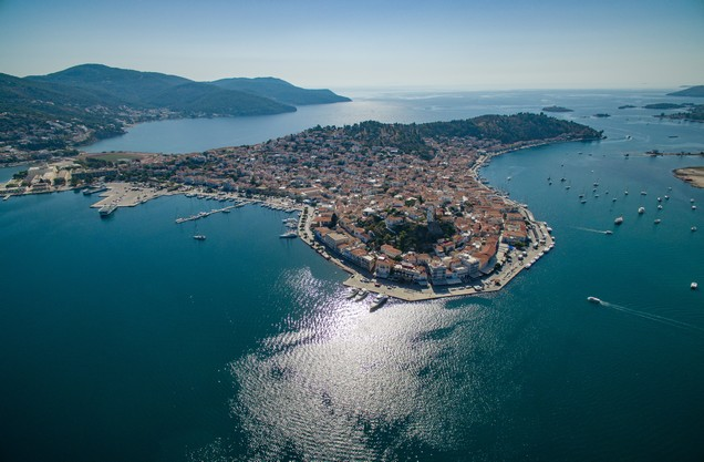 the view of the seaside Poros from above
