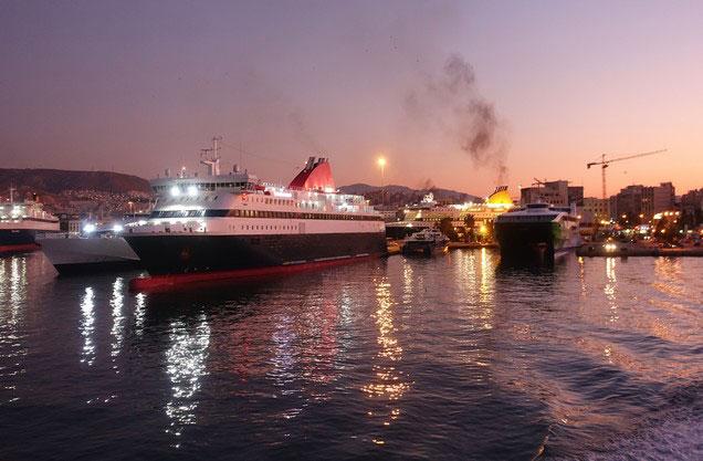 Athens or Piraeus Port to Monemvasia: illuminated ships in the port of Piraeus