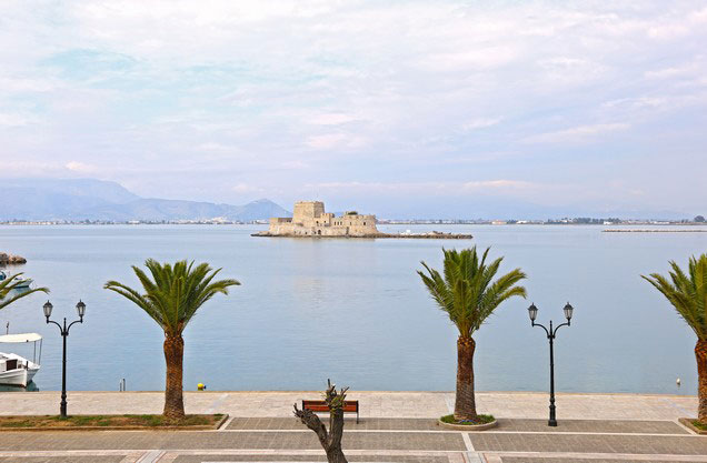 Nafplion to Ancient Olympia and return: The view of Bourtzi from Nafplio