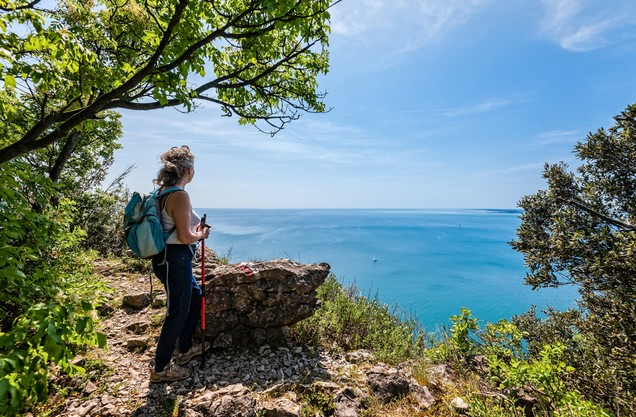 a hiker enjoys the view of the bay of Navarino from above