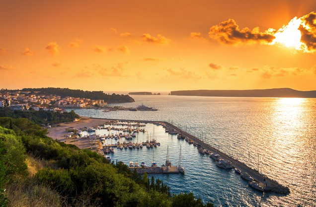 the port of Pylos at sunset