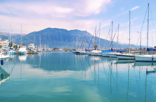 view of the mountain of Taygetos from the port of Kalamata