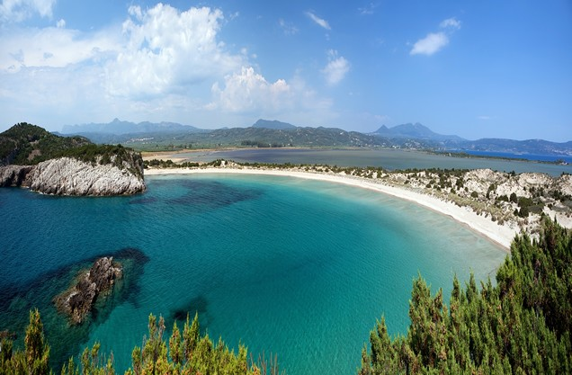 the beach of Voidokilia from above