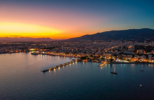 the view of the illuminated city of Kalamata from above