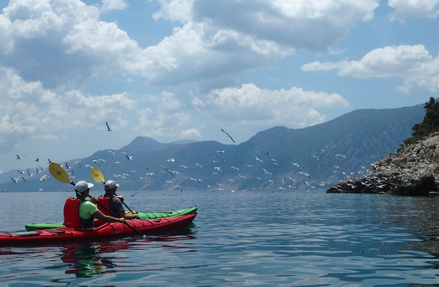 Ancient Sunken City Kayak Tour: two people kayaking in the sea