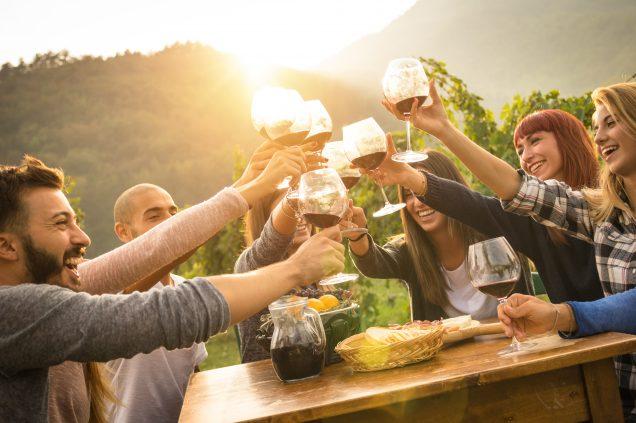 παρέα ατόμων που κάνουν πρόποση με ποτήρια κόκκινο κρασί στη Νεμέα